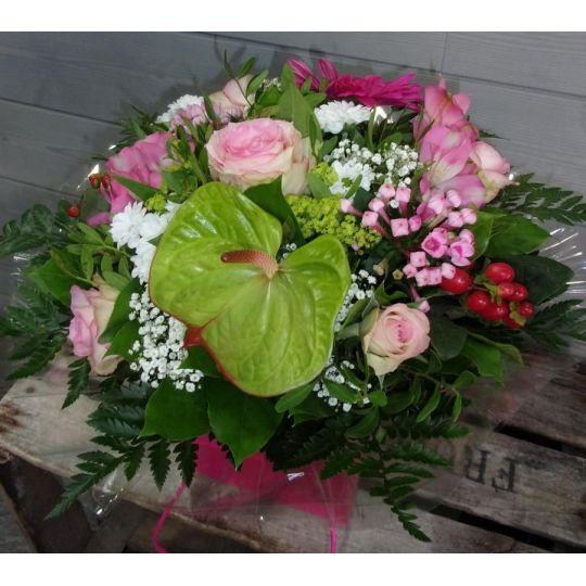 Bouquet rond rose tendre