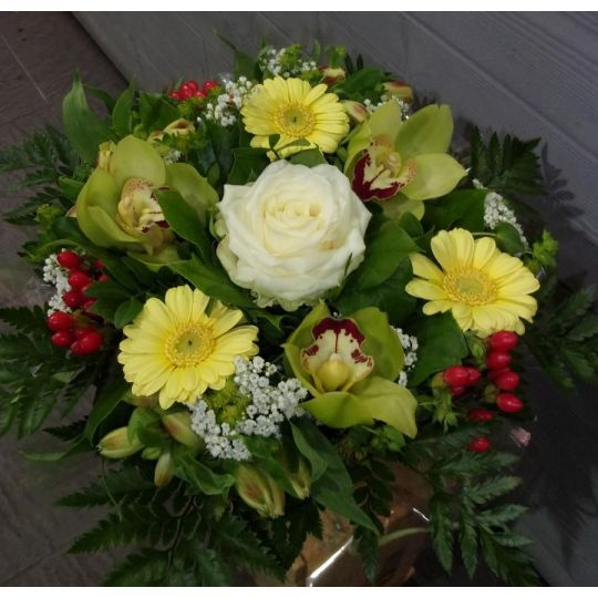 Bouquet rond jaune et vert