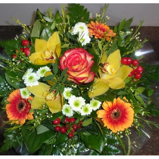 Bouquet rond jaune et orange