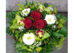 Bouquet rond rouge blanc et vert
