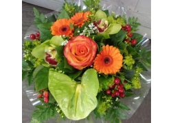 Bouquet rond orange et vert