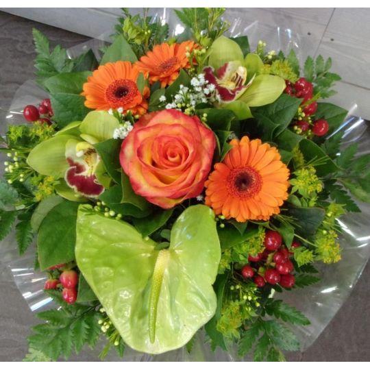 Bouquet rond orange et vert