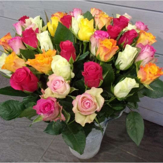 Bouquet de 40 roses multicolore