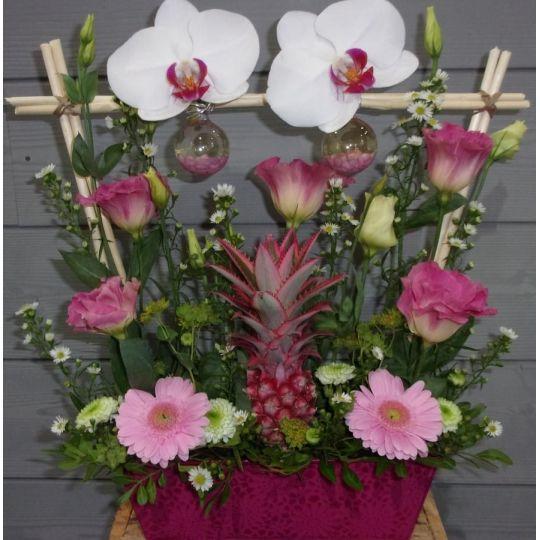 Composition en structure avec des orchidées